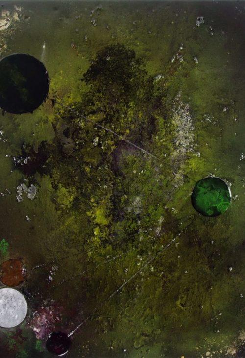 Abstract art painting: INTERSTELLAR ATTRACTION 80 x 100 CM, epoxy resin art.