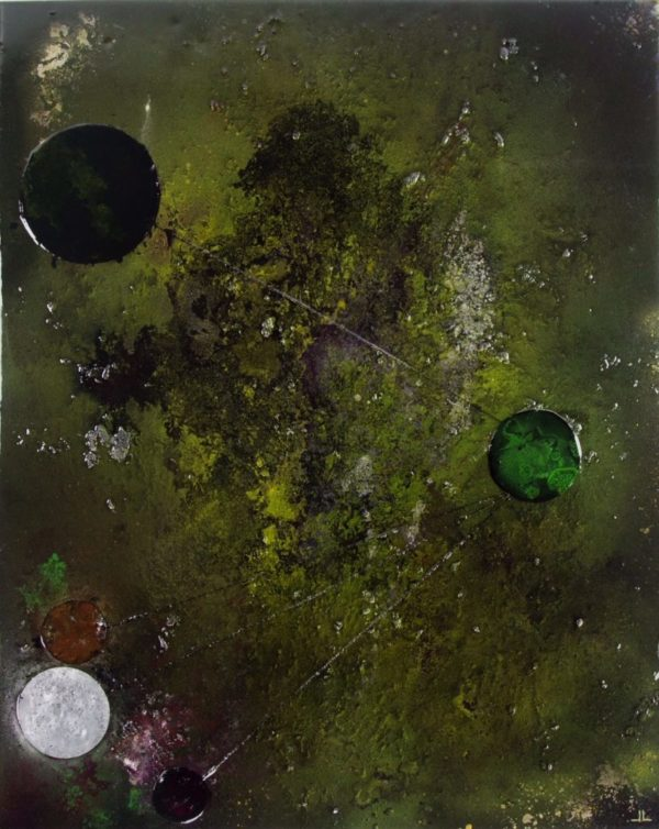 Abstract art painting: INTERSTELLAR ATTRACTION   80 x 100 CM, epoxy resin art.