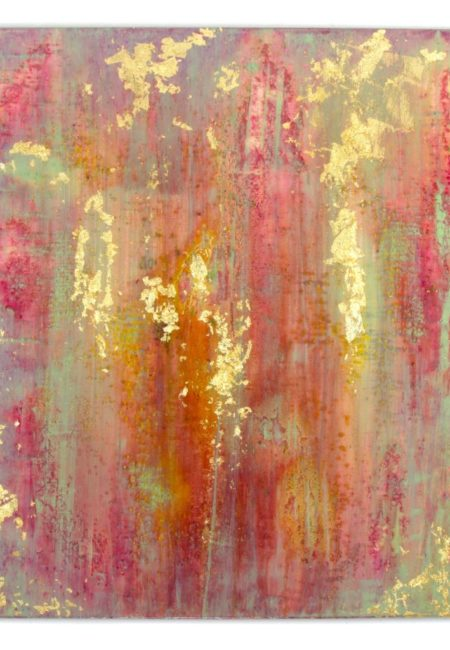 Abstract art painting: GOLD WRAPPED CANDY 80 x 90 CM, epoxy resin art.