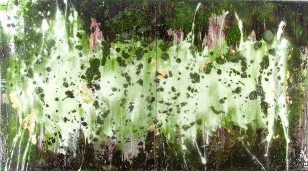 Abstract art painting: FADING FOREST  DIPTYCH 2 x ( 90 x 100 ) CM, epoxy resin art.